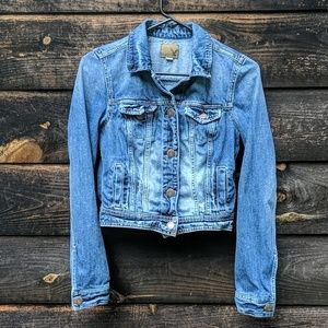 AEO Factory Distressed Blue Jean Jacket